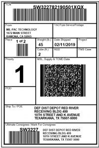 MSL (Military Shipment Label)