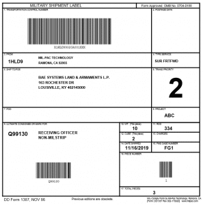 DD1387 - Military Shipment Label