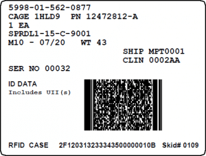 Mil-Std-129R RFID IUID Label