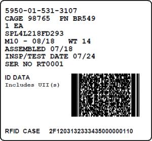 Mil-Std-129R IUID Exterior Container Label (RFID)