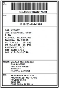 GSA (FED-123H) Exterior Container Label