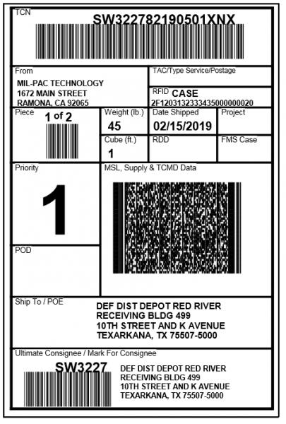 RFID Address Label (MSL)