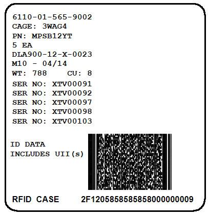 Mil-Std-129 Exterior RFID Container Label with IUIDs