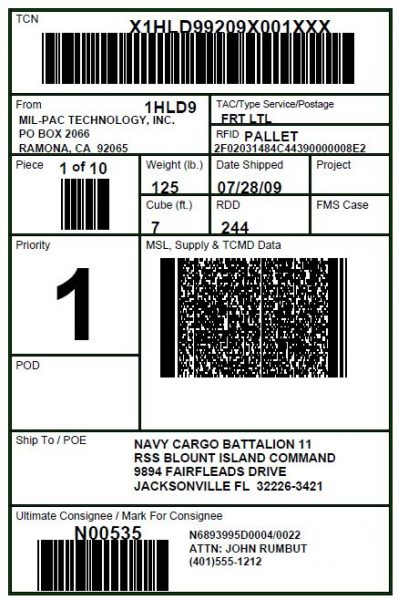 RFID-enabled Military Shipment Label (MSL) format compliant with Mil-Std-129R