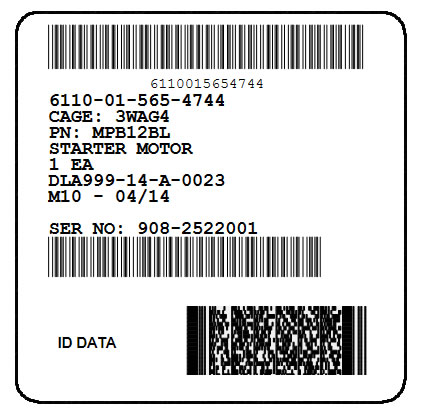 Mil-Std-129R Unit Container Label with SN Bar Code