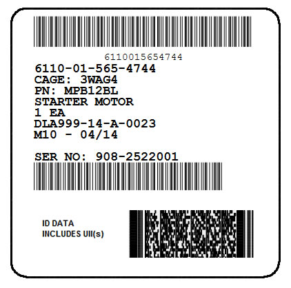 IUID Unit Container Label with 2D PDF417 and Linear SN Bar Code